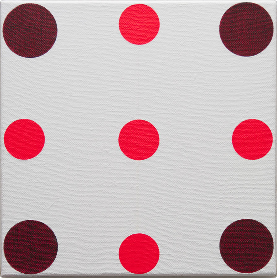 Red in Four Directions, 2016, acrylic on flax 30cm x 30cm