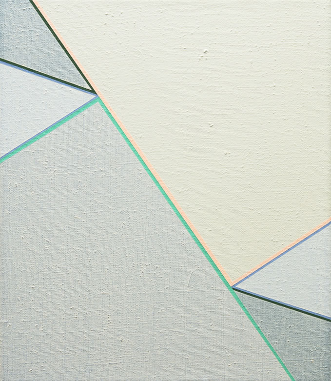 Katrina Blannin, Colourway Vert Véronèse-Peach 2014-2017, 35cm x 30cm acrylic on linen